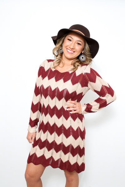 Chevron Sweater Dress Burgundy & Cream