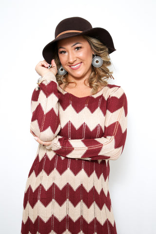 Chevron Sweater Dress Burgundy.jpeg