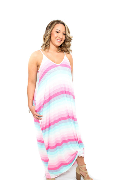 Stripe Maxi Dress With Pockets For Women