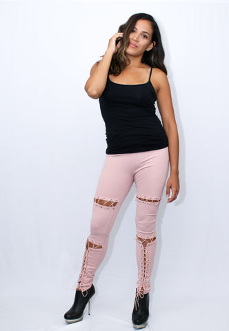 Lacey Rouge Lace Up Leggings