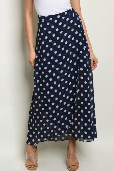 Summery Sweet Polka Dot Maxi Skirt: Navy Blue