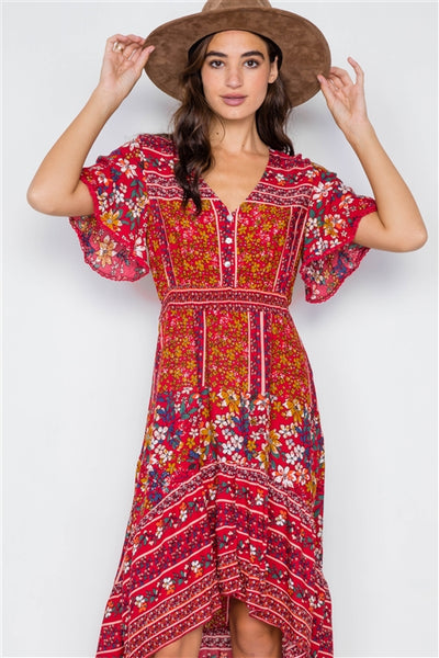 Fall Florals High-Low Midi Dress: Red