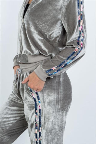 Velour Grey Tracksuit Women
