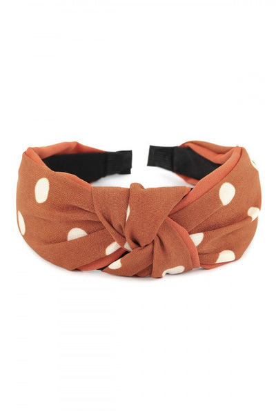 Fall Vibes: Rust & White Polka Dot Headband