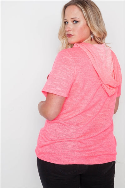 Rock Distressed Hoodie: Hot Pink