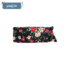 Load image into Gallery viewer, Black Floral Scarf Tie