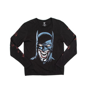 Batman & Joker Bats Mash-Up Black Long Sleeve Tee