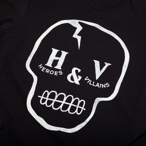 Heroes & Villains Branded Skull Black Long Sleeve Tee
