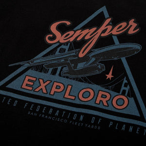 Star Trek Federation Semper Exploro Black Tee