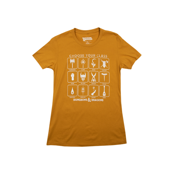 D&D Women's Classes Vintage Gold Tee