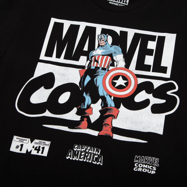 Marvel Comics Captain America Black Tee