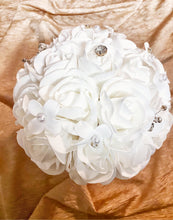 Load image into Gallery viewer, White Roses and Ornaments Bridal Bouquet