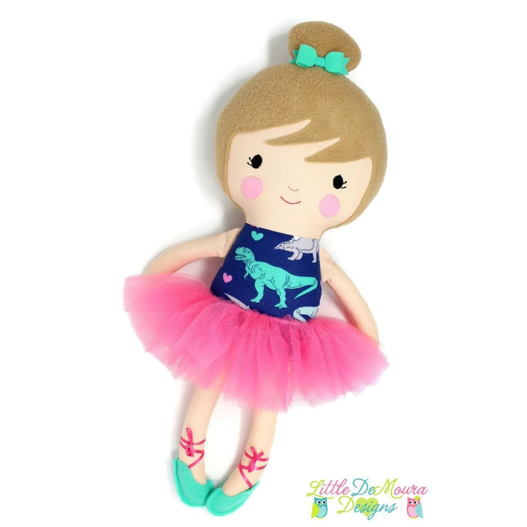 Dino Loving Ballerina Doll/ 18 Handmade Fabric Doll (Select Your Skin And Hair Color) 18 Doll Little Demoura Designs 18 Doll Ballerina Best