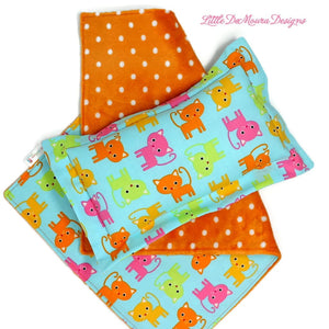 Dolly Nap Set- Neon Cats (Ready To Ship) Little Demoura Designs American Girl Bed Bedtime Blanket Cat