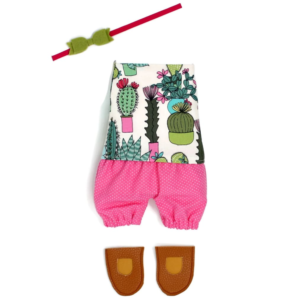 Dress Up Doll- Dolly Outfit- Cactus Short Set (Ready To Ship) Little Demoura Designs Accessories Cactus Clothes Doll Clothes Doll Outfit