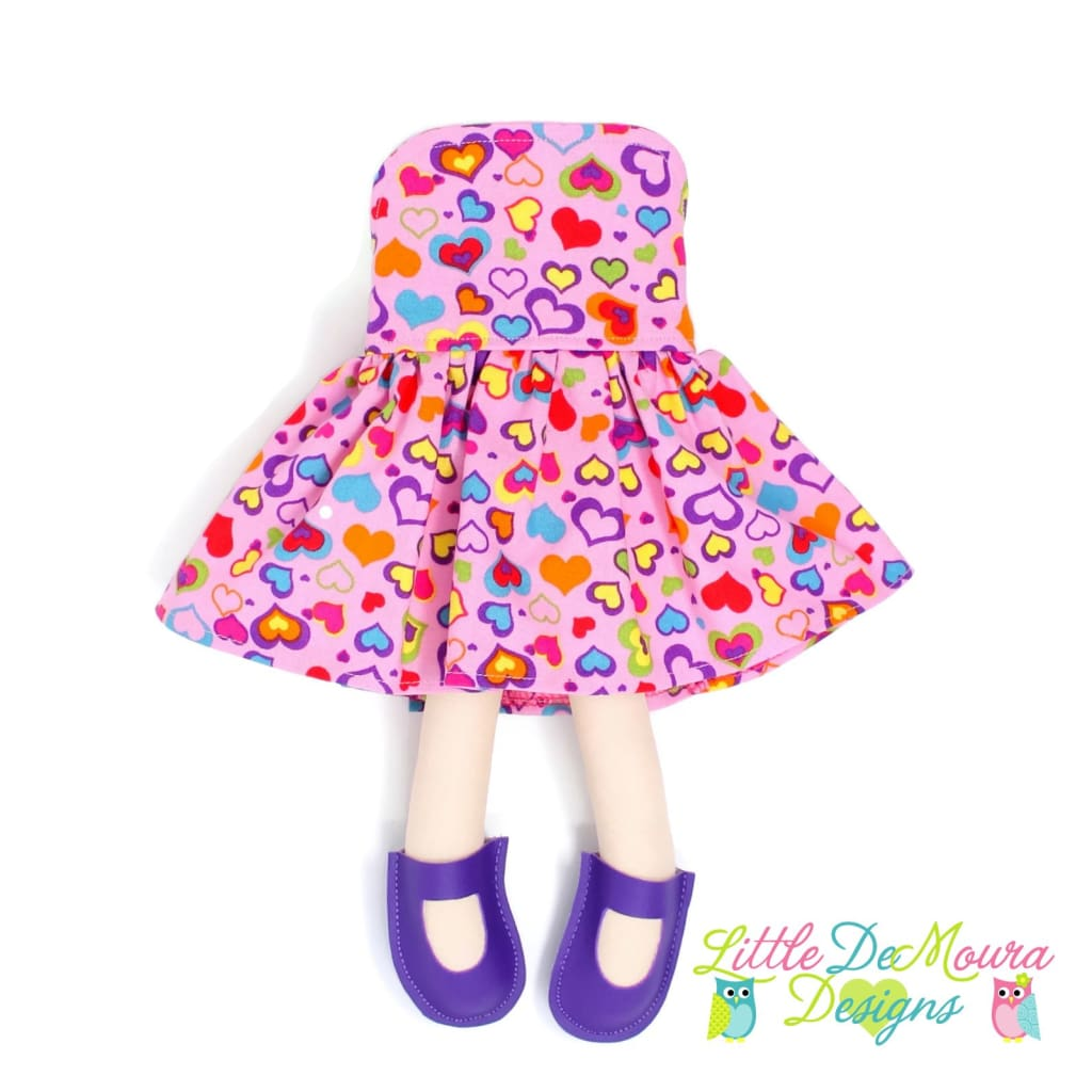 Dress Up Doll- Dolly Outfit- Colorful Hearts Doll Dress Little Demoura Designs Accessories Clothes Colorful Doll Clothes Doll Outfit