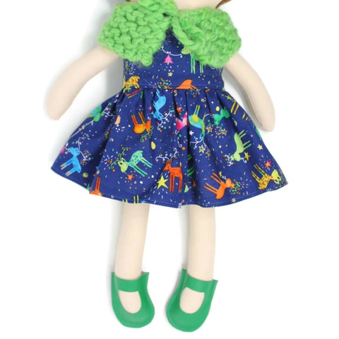 Dress Up Doll- Dolly Outfit- Colorful Reindeer Little Demoura Designs Accessories Capelet Caplet Christmas Clothes