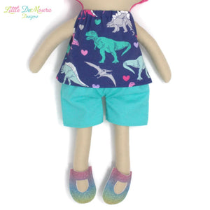 Doll Dress Accessories Clothes Dino Dinosaur Dinosaurs Dress Up Doll- Dolly Outfit- Dino Short Set Little Demoura Designs