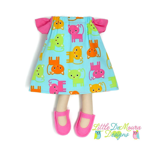 Dress Up Doll- Dolly Outfit- Flutter Sleeve Dress Bright Kitties Doll Dress Little Demoura Designs Accessories Bright Cat Clothes Dog