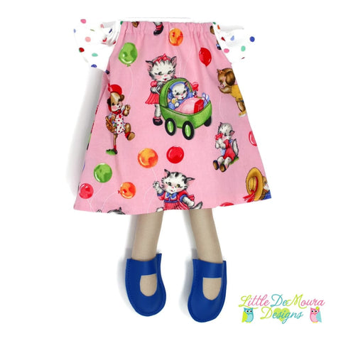 Dress Up Doll- Dolly Outfit- Flutter Sleeve Dress Playful Kitties And Puppies Doll Dress Little Demoura Designs Accessories Cat Clothes Dog
