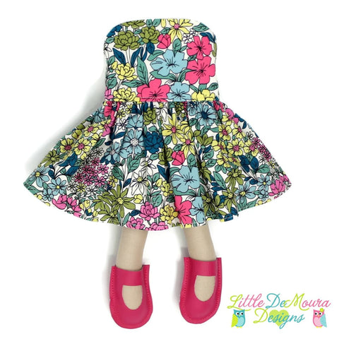 Dress Up Doll- Dolly Outfit- Party Dress Botanical Floral Doll Dress Little Demoura Designs Accessories Botanical Clothes Doll Clothes Doll