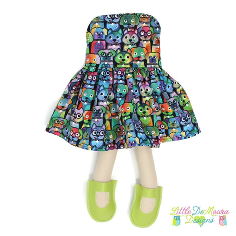 Dress Up Doll- Dolly Outfit- Party Dress Colorful Dogs Doll Dress Little Demoura Designs Accessories Bright Clothes Colorful Dog