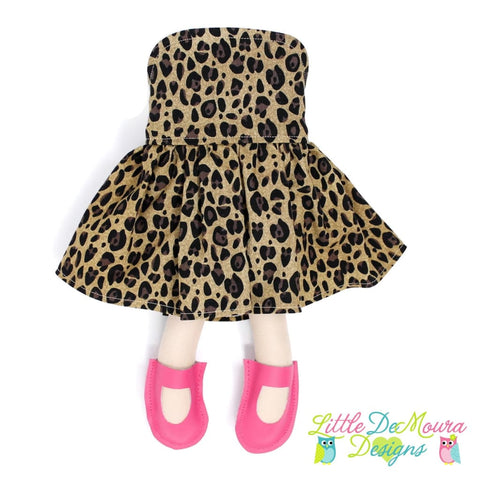 Dress Up Doll- Dolly Outfit- Party Dress Leopard Doll Dress Little Demoura Designs Accessories Animal Print Clothes Doll Clothes Doll Outfit