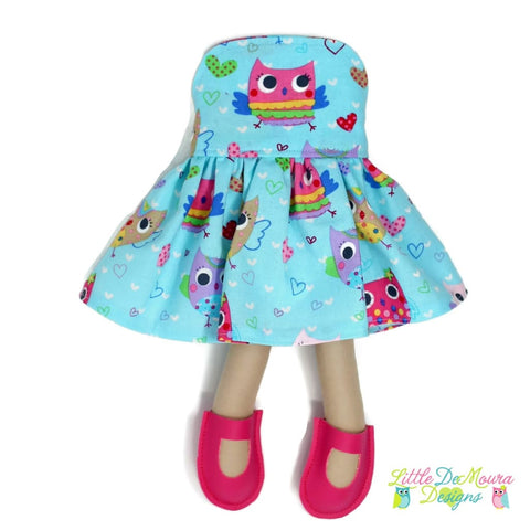 Dress Up Doll- Dolly Outfit- Party Dress Owls Doll Dress Little Demoura Designs Accessories Bright Clothes Colorful Doll Clothes