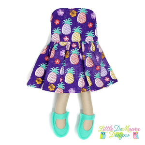 Dress Up Doll- Dolly Outfit- Party Dress Pineapples Doll Dress Little Demoura Designs Accessories Bright Clothes Colorful Doll Clothes