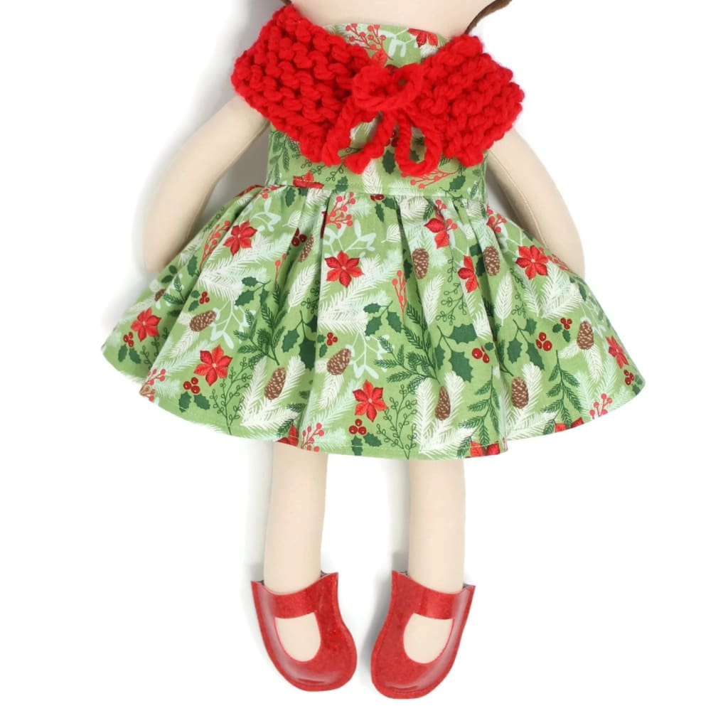 Dress Up Doll- Dolly Outfit- Poinsettias And Pine Cones Little Demoura Designs Accessories Capelet Caplet Christmas Clothes
