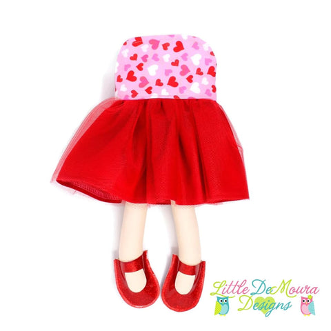 Dress Up Doll- Dolly Outfit- Red And Pink Hearts Doll Dress Little Demoura Designs Accessories Clothes Doll Clothes Doll Outfit Dress