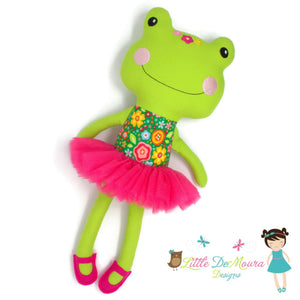 Arrows Demoura Doll Feb 8Th Hearts Fiona Frog Doll- Spring Floral On Green Little Demoura Designs
