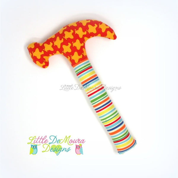 Plush Hammer Rattle (Multiple Prints) Little Demoura Designs Baby Gift Handmade Rattle Toy