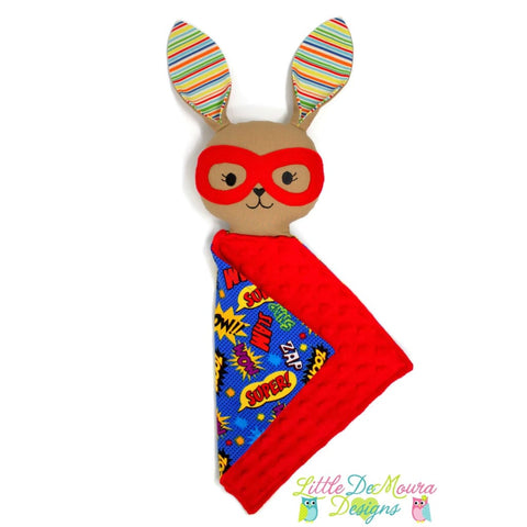 Super Bunny Love Buddy- Zip (Ready To Ship) Little Demoura Designs Bunny Love Buddy Lovey Lovie Superhero