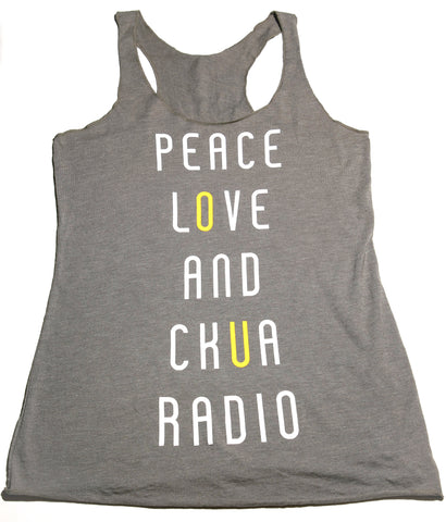 """Peace, Love and CKUA Radio"" Ladies Tank Top"