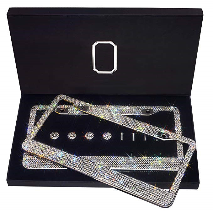 2 Pack Bling Premium Stainless Steel License Plate Frame(buy 2 free shipping & 10% off)
