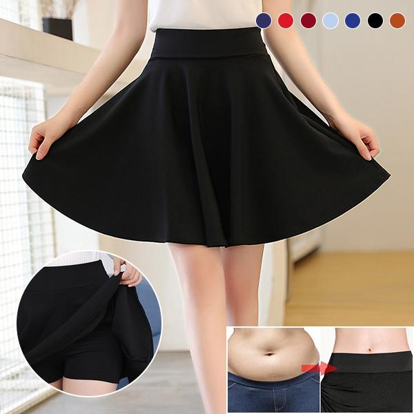 A-line Elastic Waist Pleated Shorts Skirts (Buy 2 Free Shipping, Buy 3 Get 4)