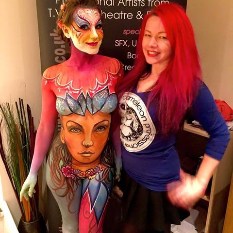 Bodyartist Madelyn Greco with model Gracie Bodypaint Model