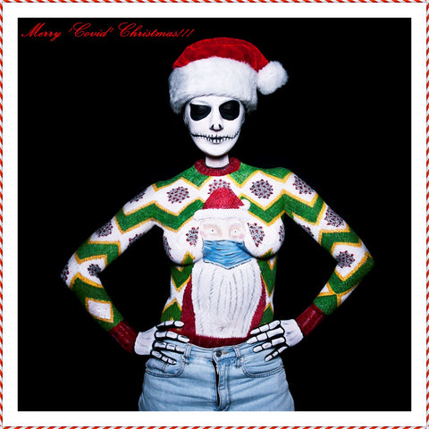 Bodypainted Christmas sweater by Corey Lajeunesse