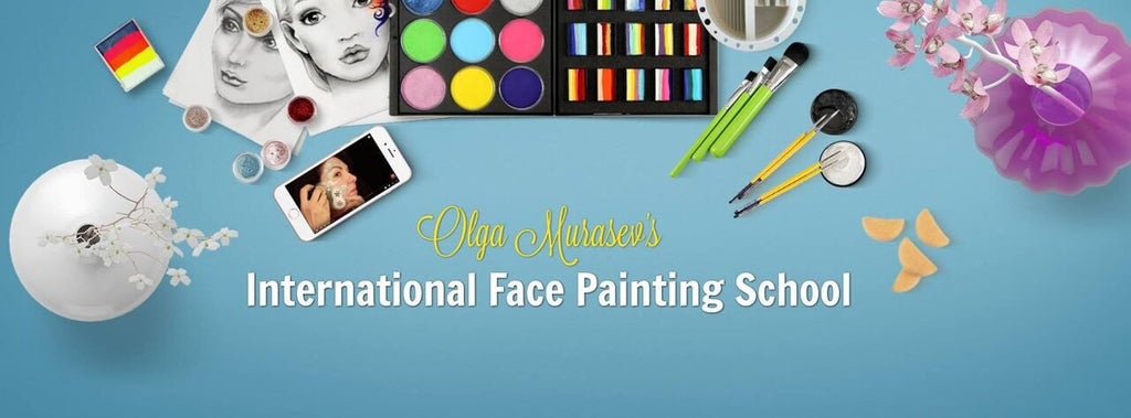 International School of Face Painting banner showing images of face paint and brushes