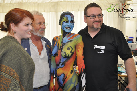 Pashur at Paintopia 2013 with wife Jennifer, model Gracie Williams and Doctor Who actor Terry Molloy