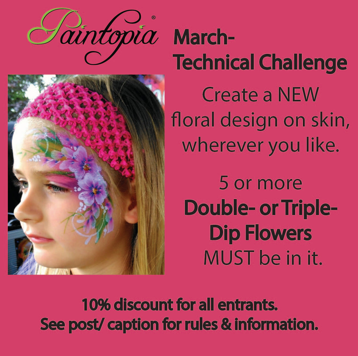 Young girl wearing floral facepaint design