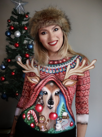 Raquel Medel bodypainted Christmas sweater