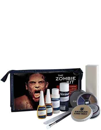 The Zombie Kit contains every product needed to create this scary Halloween look. It also comes with a visual step-by-step make up tutorial explaining the techniques and products in detail.