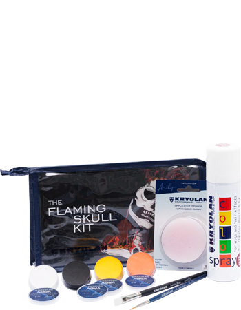 The Flaming Skull Kit contains every product needed to create this amazing make up Halloween look.  It also comes with a visual step-by-step guide explaining the techniques and products in detail.