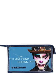The Steam Punk Clown Kit contains every product needed to create this creepy Halloween look with a modern twist. It also comes with a visual step-by-step guide explaining the techniques and products in detail.
