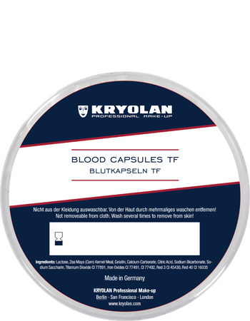 Blood Capsules TF are made from gelatine and filled with a specific blood powder.  After the user bites a capsule, the blood powder colors the user's saliva which results into a realistic blood effect.