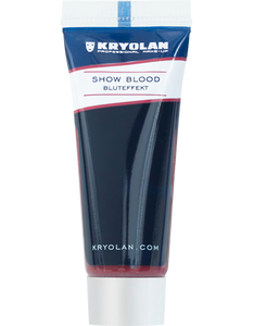 Show Blood is a gel-like blood effect paste for show and Halloween.  Easily removeable with soap and water.  Can be washed out from most fabrics.