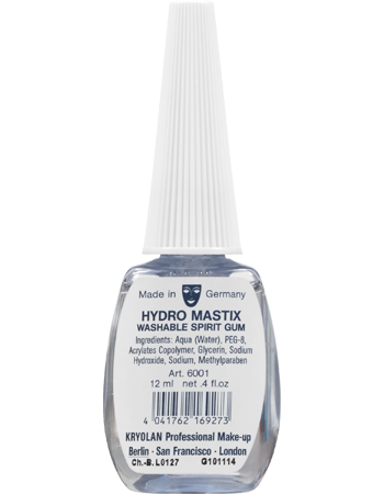 Hydro Spirit Gum is an adhesive for make-up artists, containing no solvent, with water base.  Hydro Spirit Gum is effective in adhering objects for short periods of time, and for holding down hair and eyebrows before they are covered with a bald cap or plastic film.