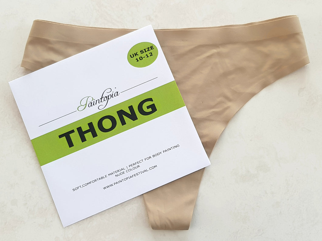 Nude coloured thong briefs, UK clothing size 10-12, soft and stretch elastane material